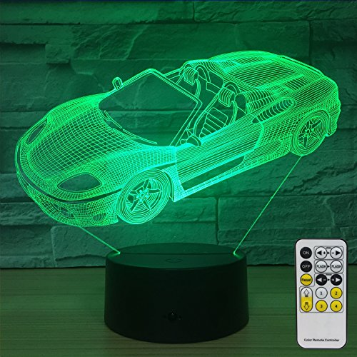 Night Lights for Kids Sports Car Decorations 7 Colors Change with Remote Baby Night Light Beside Lamp Kids Lamp Childrens Night Lights As a Gift Idea for Girls and Boys