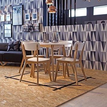 Lounge Zone Esstisch Küchentisch TAVOLA Rund Massivholz Birke Tischplatte  Weiß Lackiert (keine Folie)
