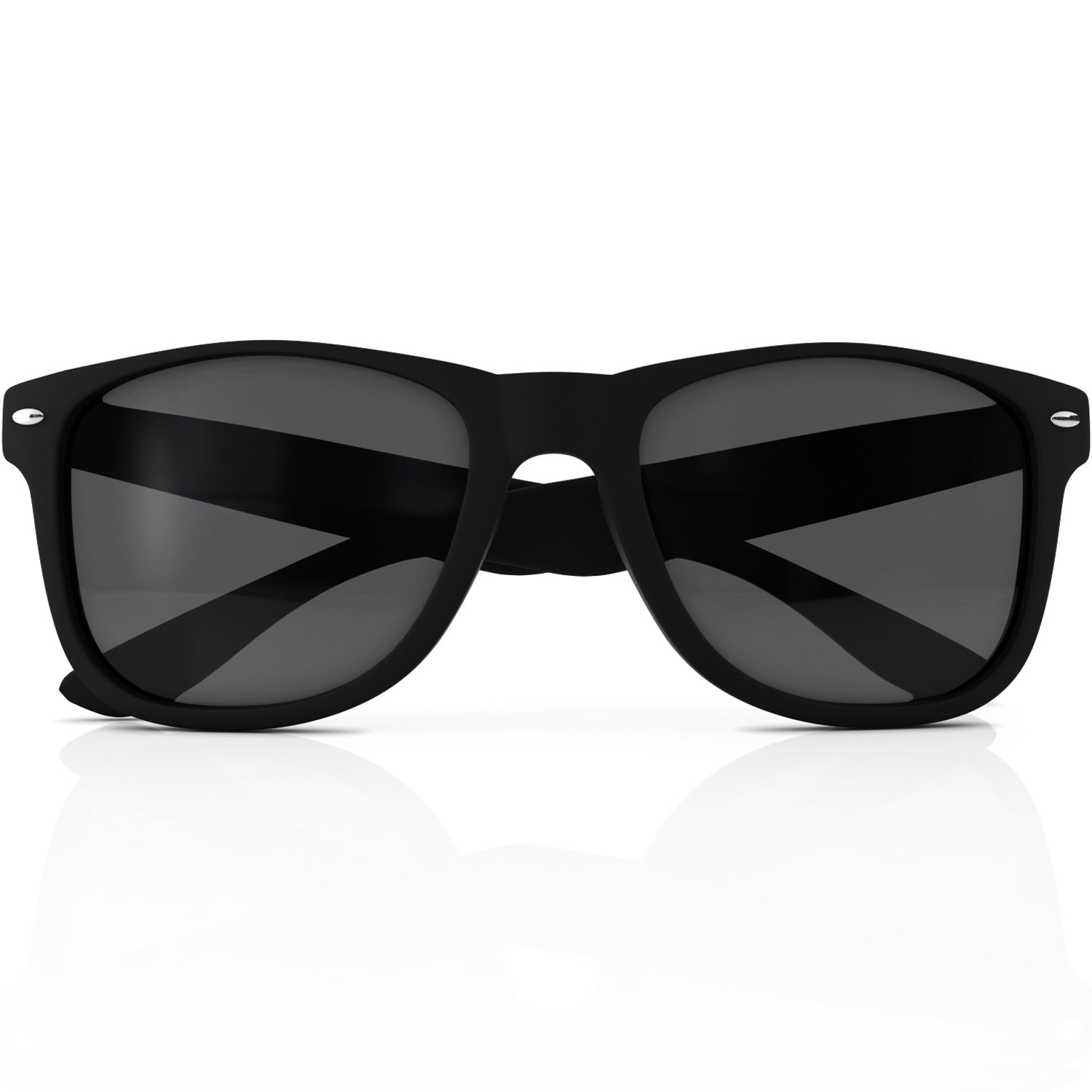 28267f2b5ce4 Amazon.com  Wayfarer Style Sunglasses Set Black Polarized Large Unisex  Outdoor Sports Glasses for Men Women Teens with UVA UVB Protection Retro  80s Vintage ...