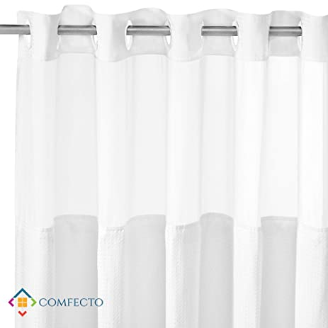 High Quality Hookless Polyester 70 X 74 Inch Shower Curtain With Light Filtering Mesh  Screen And Magnets