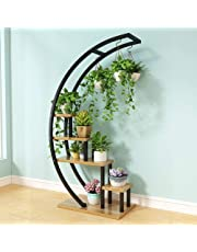 CCJW 5 Tier Metal Plant Stand Rack Shelf Creative Half Moon Shape Ladder Flower Pot Stand Rack for Home Patio Lawn Garden Balcony Holder