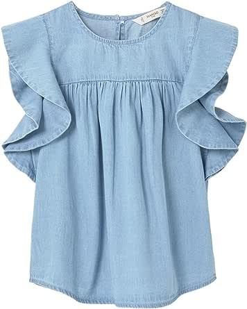 MANGO KIDS - Blusa - para niña azul claro 5-6 Años: Amazon.es: Ropa y accesorios