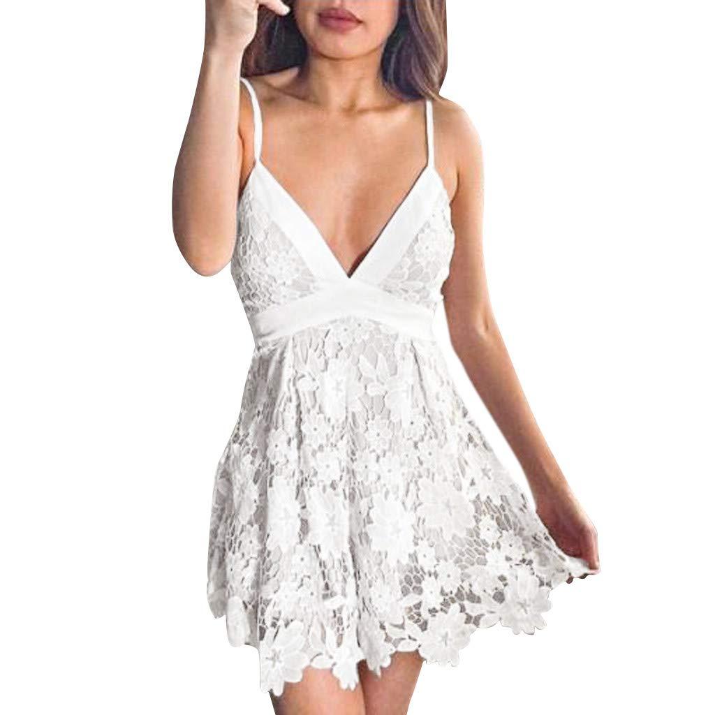 SMILEQ® Frauen Boho Zurück Spitze Minikleid Ärmellos Abend Party Sommer Strand Sommerkleid