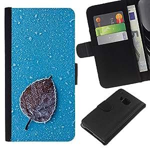 JackGot ( Iced Leaf ) HTC One M7 la tarjeta de Crédito Slots PU Funda de cuero Monedero caso cubierta de piel