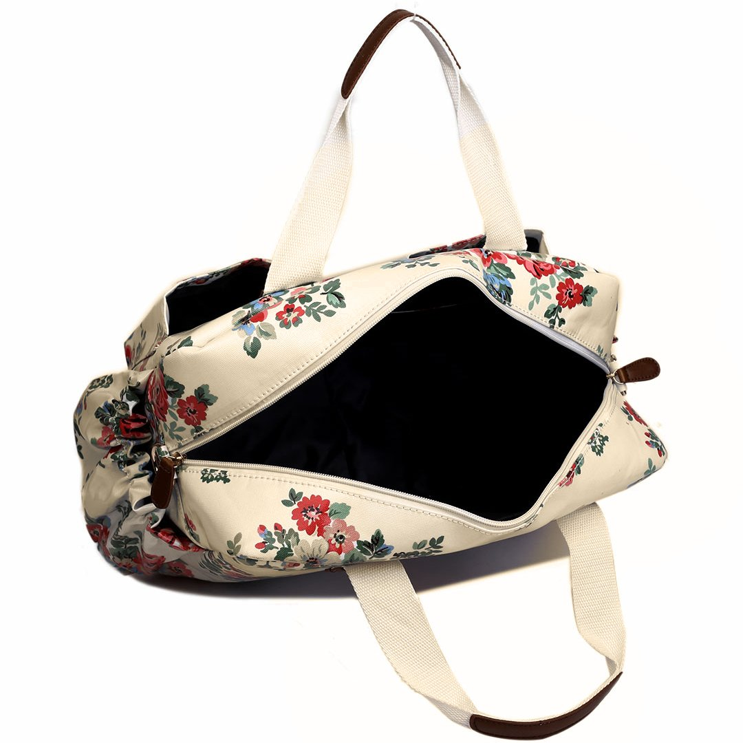 Flower White Miss Lulu 4 PCS Baby Nappy Diaper Changing Bag Set Large Tote Handbag Butterfly Flower Polka Dots Elephant Dog Cat Bird Print