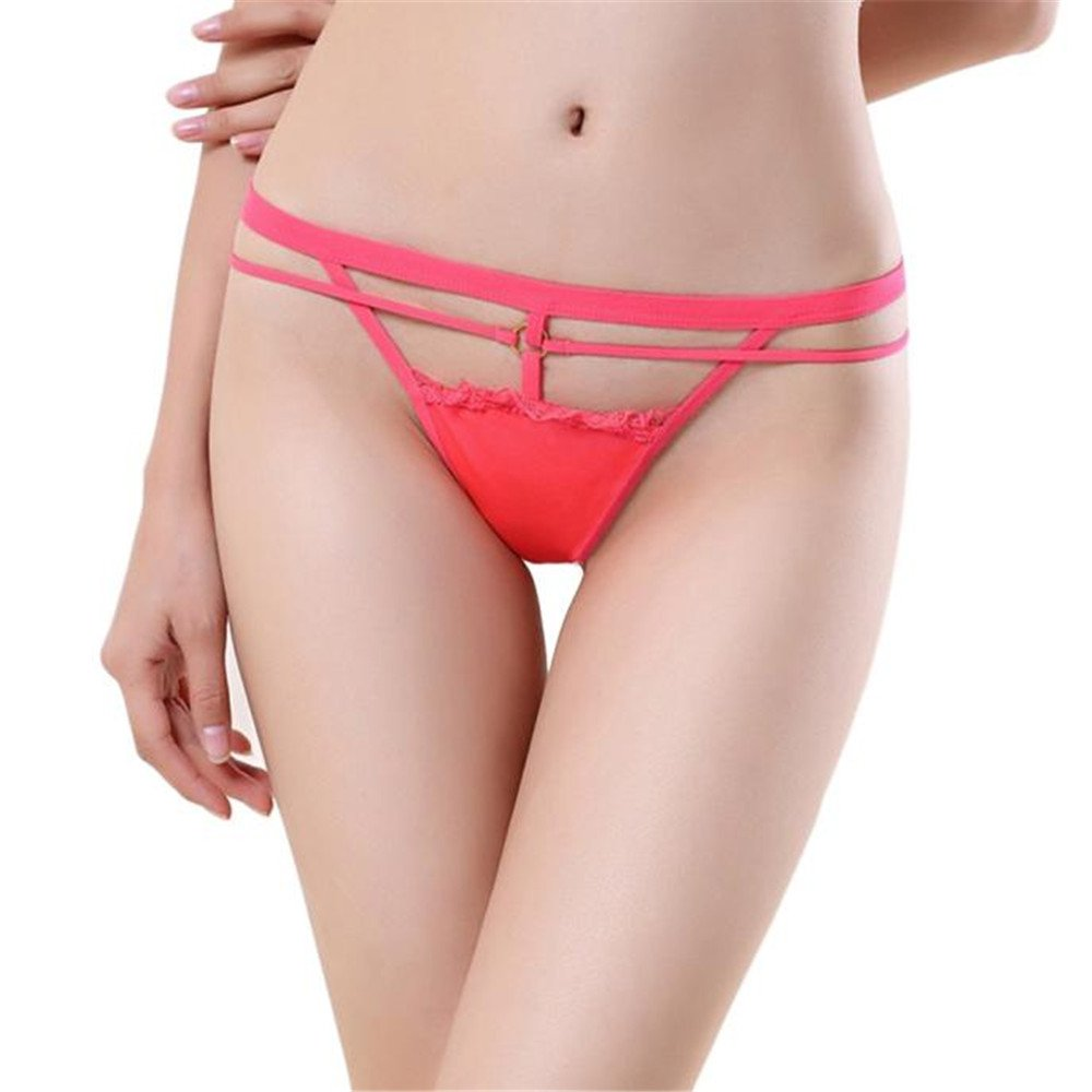 Women Sexy Lace V-String Briefs Panties Thongs G-String Underwear (Free, Watermelon Red)