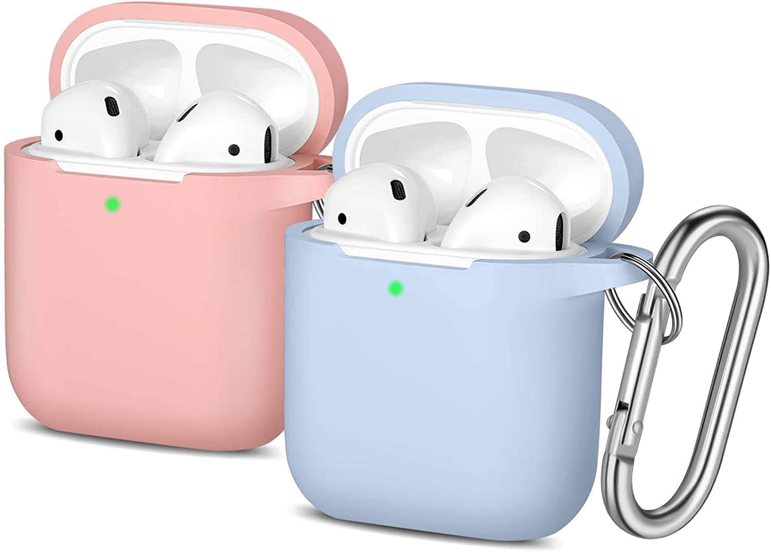 AirPods Case Keychain - 2 Pack Easuny Silicone Airpod Case Protective Cover Skin [Front LED Visible] with Keychain for Apple Air Pod 2 & 1 Wireless Charging Case Women Men, Lilac/Pink