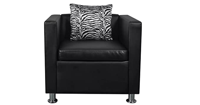 Amazon.com: Comfortable Cube Armchair Made from Black ...