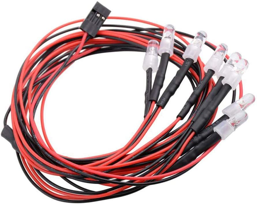 GINIHUIFISH RC 8Leds Led Light Headlight Taillight Kit 5mm White and Red LEDs for 1//10 RC Car Truck Tank Crawler HSP Tamiya