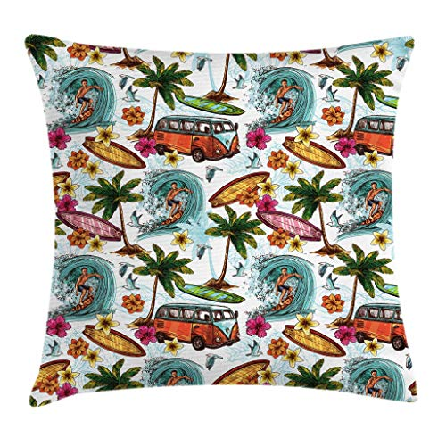 Ambesonne Ocean Decor Throw Pillow Cushion Cover, Hawaiian Decor Surfer on Wavy Deep Sea Retro Palms Flowers Surf Boards Print, Decorative Square Accent Pillow Case, 16 X 16 Inches, Multicolor ()