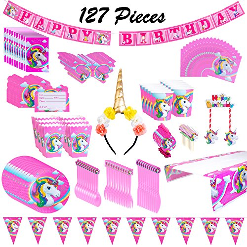 Unicorn Party Supplies Set - Disposable Tableware, Plates, Napkins, Cups, Decorations, Favors, Invitation Cards, Headband - Serves 10 - Perfect For Girls Birthday Parties! (127 Pieces) (Napkins Invites Cups Plates)