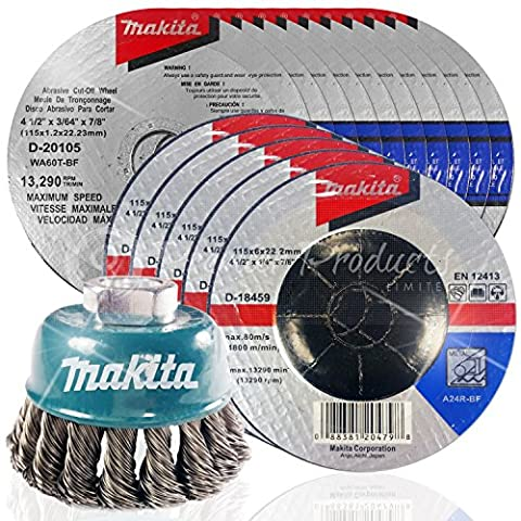Makita 16 Piece - 4 1 2 Grinding & Cutting Wheel Wire Cup Set For Grinders - Grind, Cut & Condition For Metal - 4-1/2