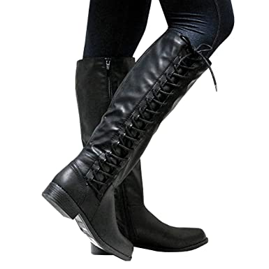75e0dc4469b1 Image Unavailable. Image not available for. Color  Womens Riding Boots Lace-up  Wide Calf ...