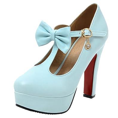 AIYOUMEI Damen T-Spangen Plateau Pumps mit Schleife High Heel Blockabsatz  Elegant Abend Schuhe  Amazon.de  Schuhe   Handtaschen 2b8ef17454