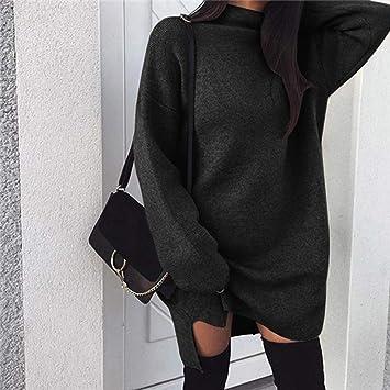 QWDXS Vestido De Punto Otoño Invierno Mujer Vestido De Punto Vestido De Suéter De Cuello Alto