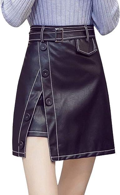 LPATTERN Mini Falda de Cuero de Imitación Dobladillo Asimétrico ...