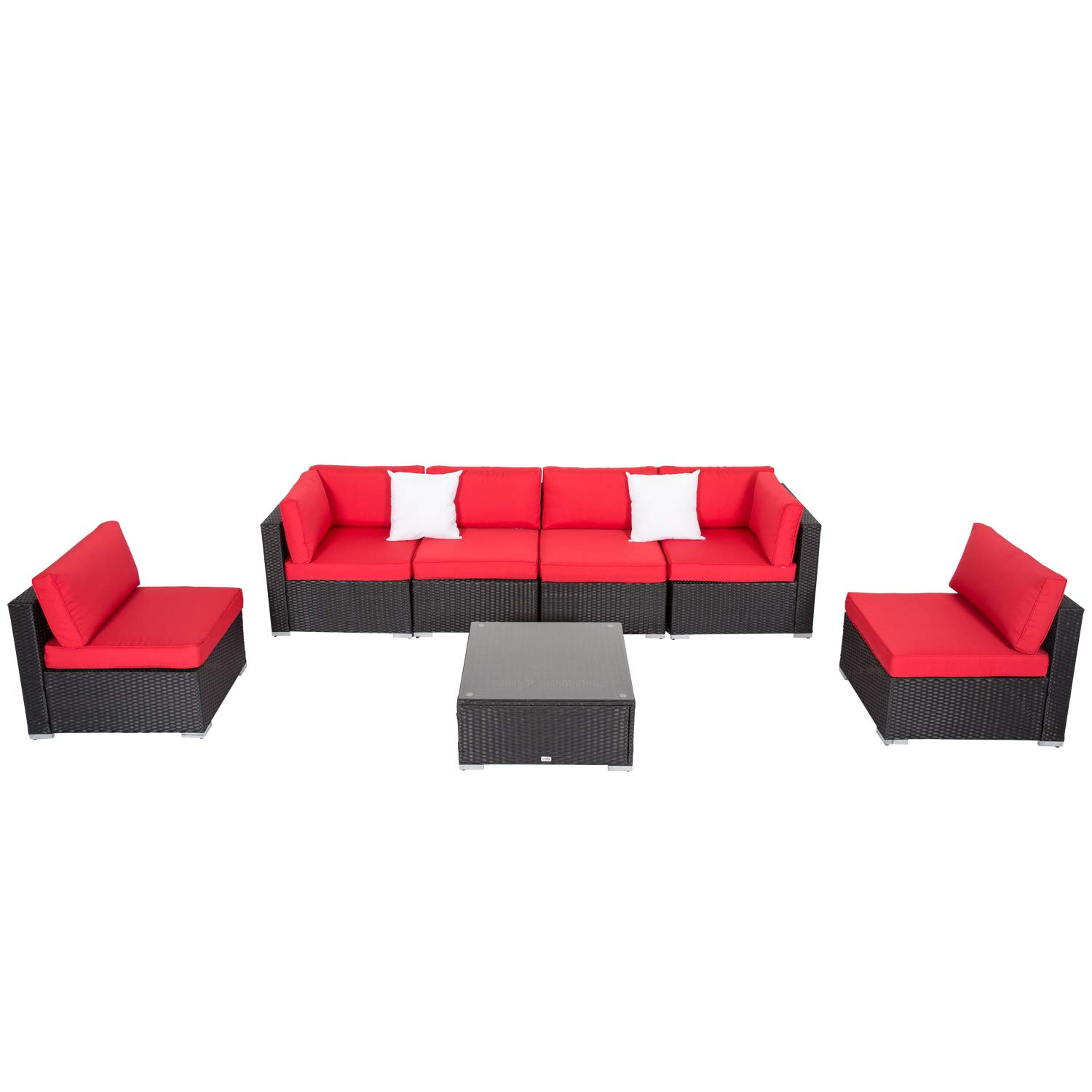 Patio furniture sectional sofa set 7 piece all weather resin wicker outdoor conversation set with cushions glass coffee table garden backyard
