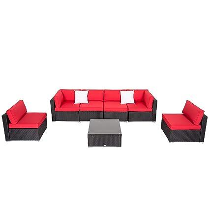 Amazon Com Patio Furniture Sectional Sofa Set 7 Piece All Weather