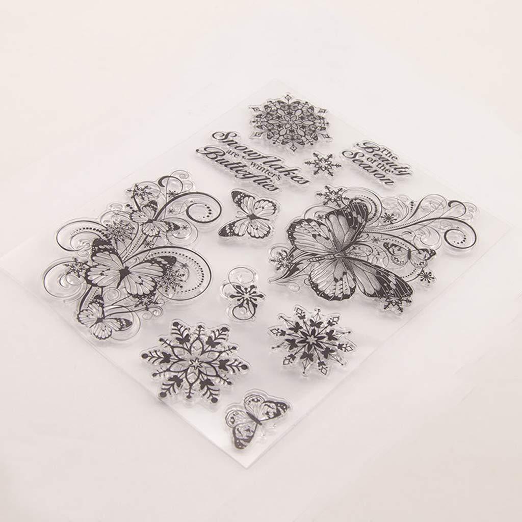 Hothap Mariposa de silicona sello claro sello DIY Scrapbooking relieve /álbum de fotos decoraci/ón