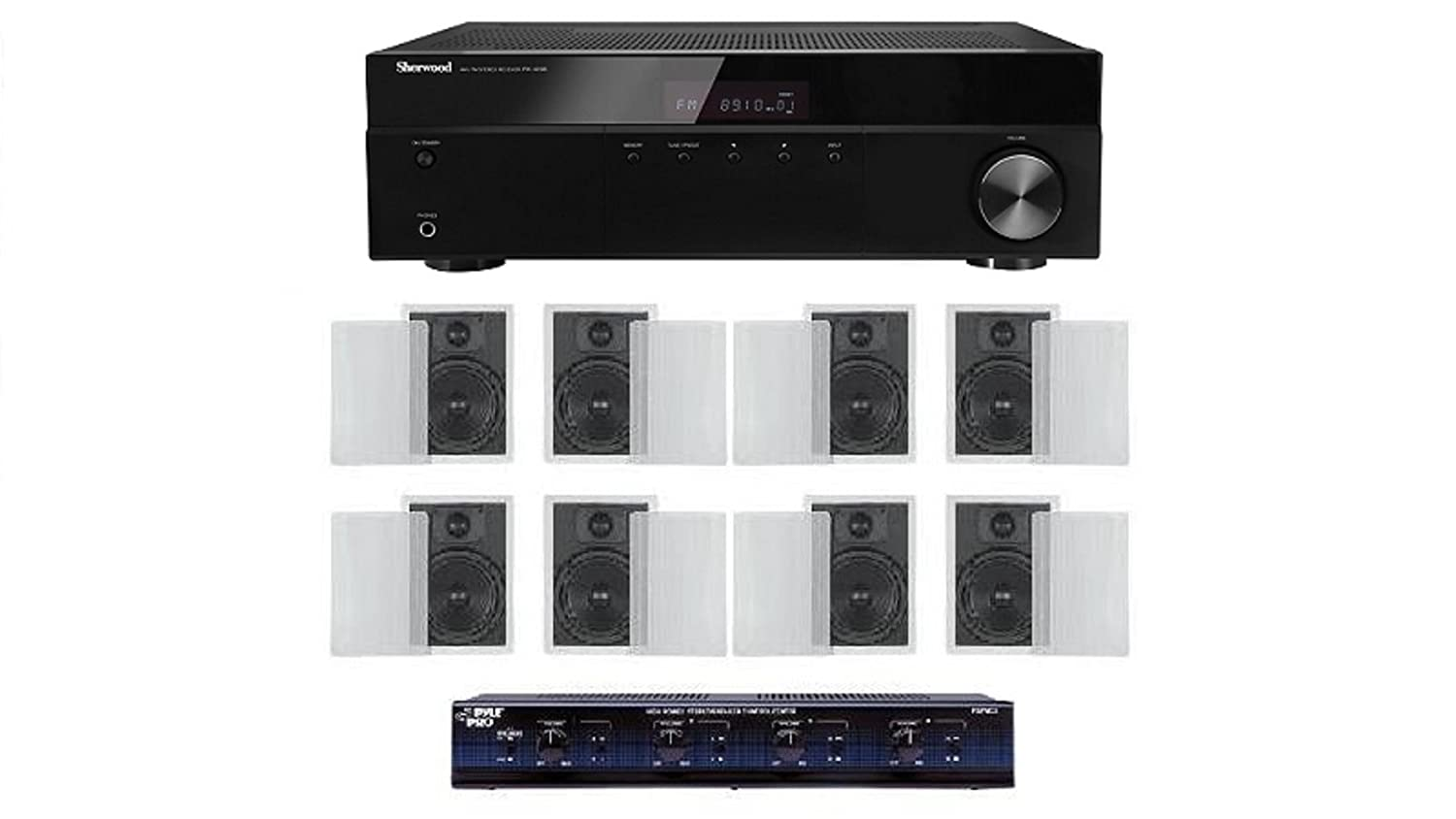 Distributed Home Audio Whole House Sound System- Flush Inwall Speakers for 4 Rooms