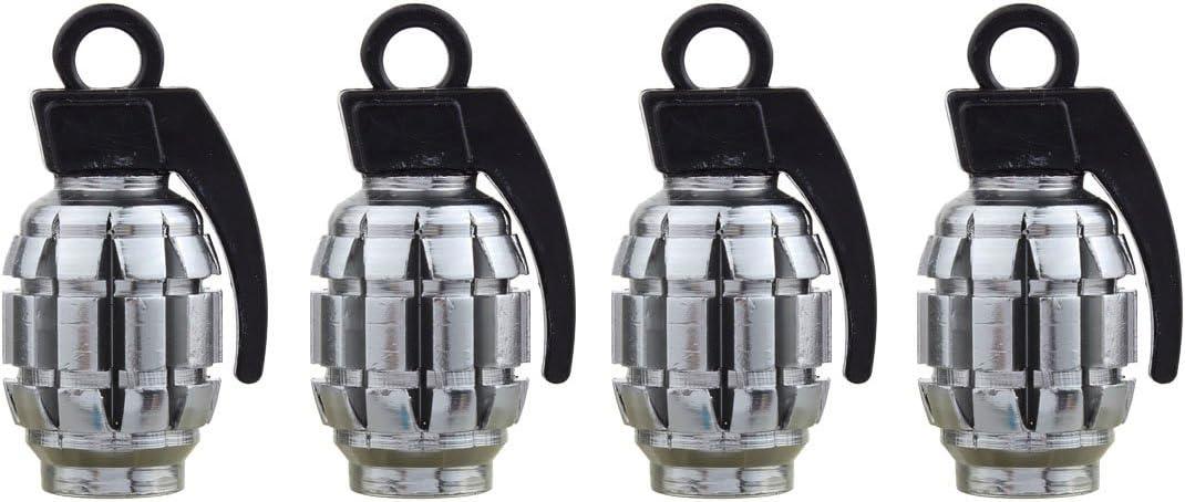 TOMALLa válvula del neumático de capsula la aleación de Aluminio Gris Titanium del Estilo de la Granada del Cromo para Las Llantas Autos del Off-Road del autobús