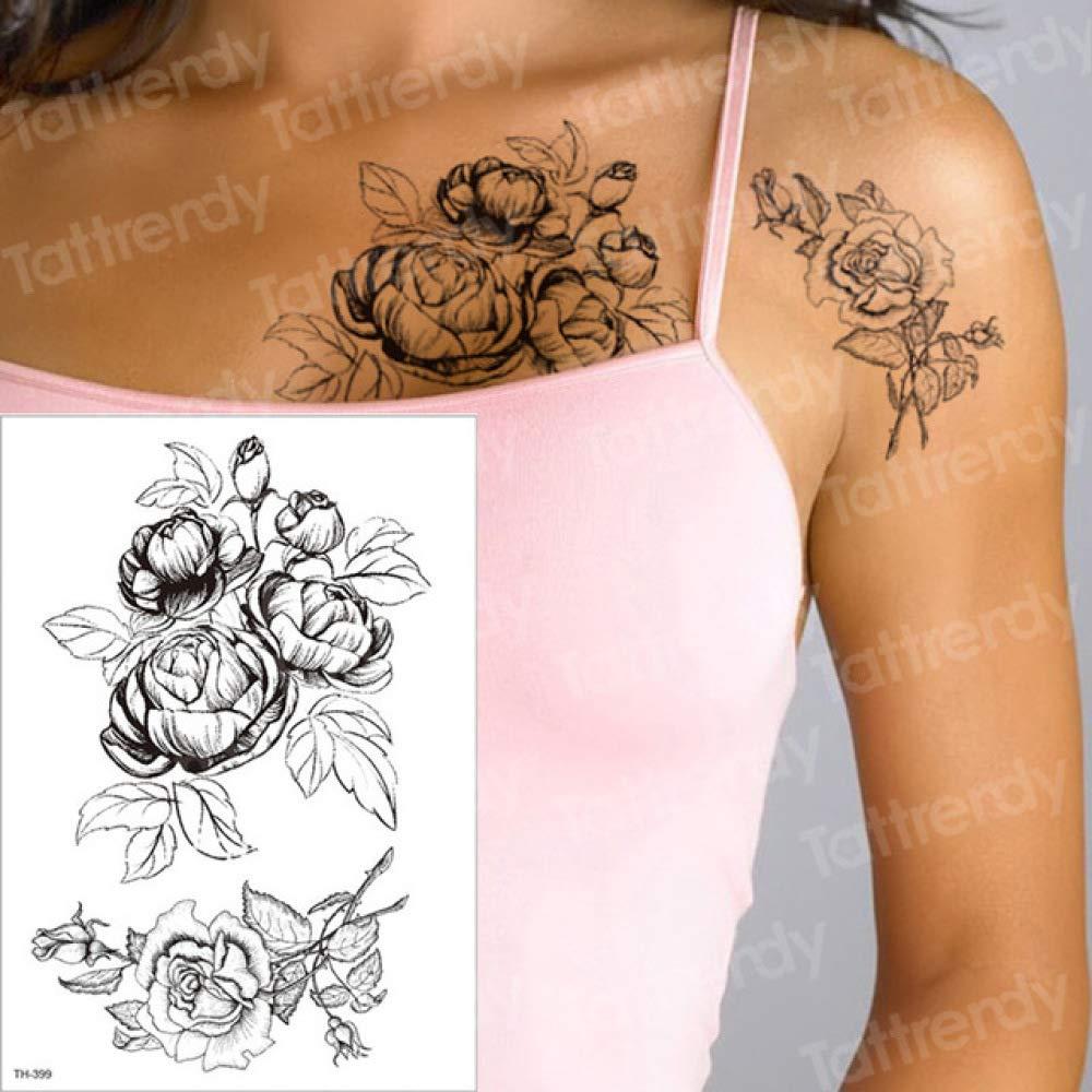 Handaxian 3 unids Imperio Tatuaje Negro Flor Tatuaje 3 unids-9 ...