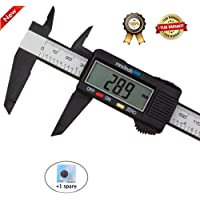 Diagtree 150mm 6inch LCD Digital Electronic Digital Vernier Caliper Carbon Fiber Vernier Caliper Gauge Micrometer Measuring Micrometer - Auto Off Featured Measuring Tool