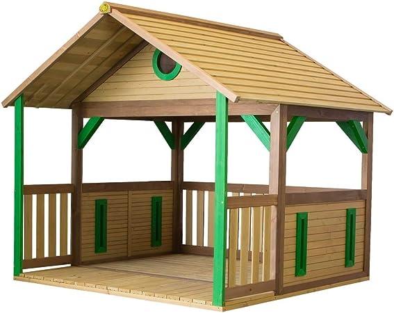 Beauty.Scouts – Casa de juegos de madera Stine 173 x 180 x 180 cm de madera de cedro en color marrón refugio para niños casa de juegos de niños moderna casa de