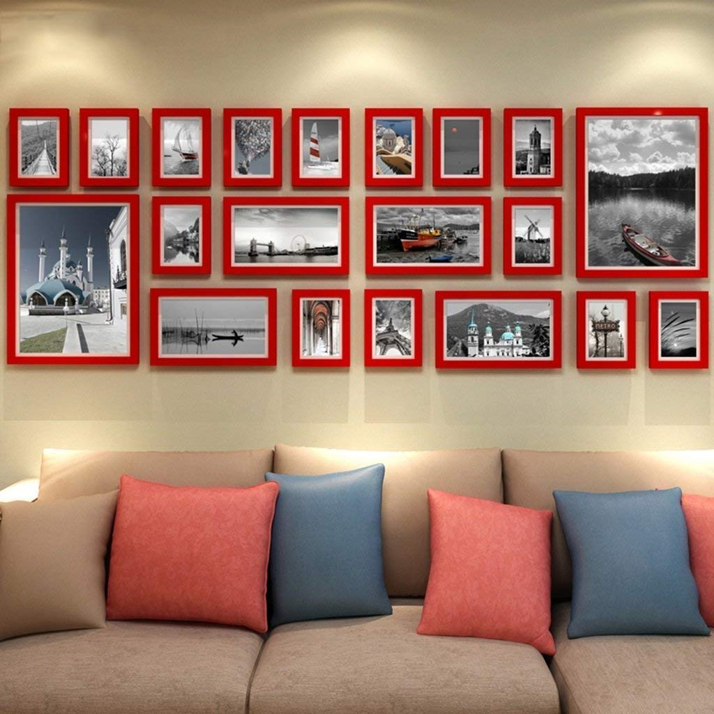 Xixuan Store William 337 Company Large Wooden Frame Wall European Style Living Room Photo Wall Simple and Modern Creative Combination Photo Wall Photo Fram for Desk (Color : D)