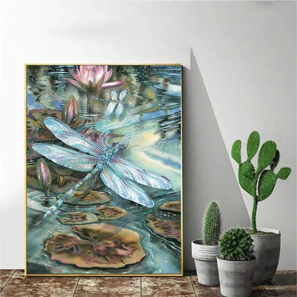 DIY 5D Diamond Painting Kits for Adults Full Drill Embroidery Pictures Arts Crafts for Home Wall Decor/  Lotus And Dragonfly 11.8x15.7in 1 Pack By AxiEr