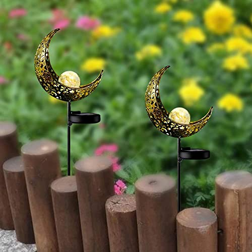 Garden Solar Light Outdoor Decorations, Moon Decor, Crackle Glass Ball Metal Garden Stake Light,Waterproof LED Lights for for Pathway, Lawn, Patio, Yard