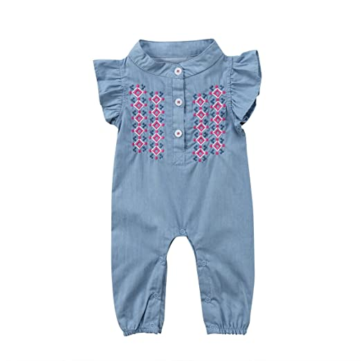 13549e133 Amazon.com  Baby Girls Romper Halter Sleeve Bodysuit Flexible ...