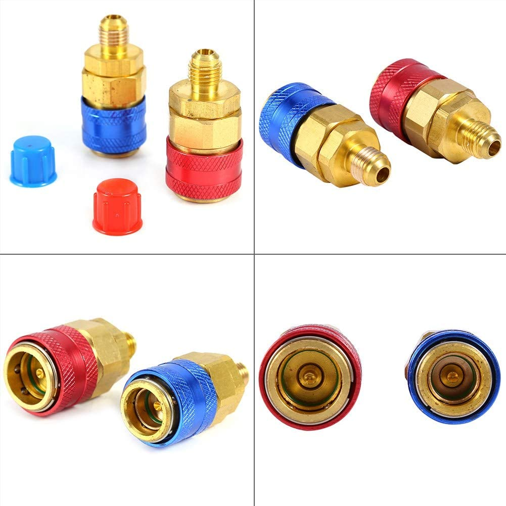 Quick Couplers Conversion Adapters Couplers R134a Auto Car Quick Coupler Connector Brass Compressor Fittings Adapters Low /& High Side AC Manifold