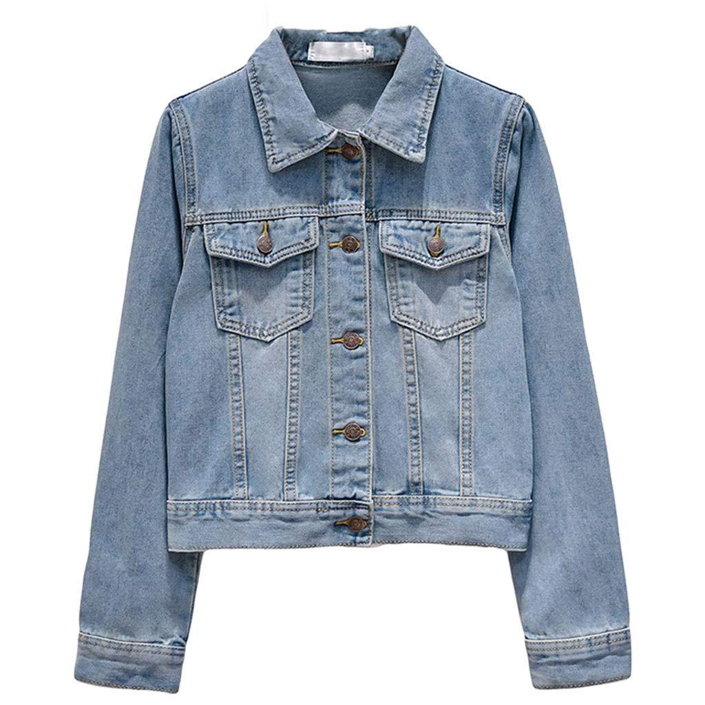 Light bluee Denim Short Jacket Women's Long Sleeve Spring and Autumn Slim Top Student Casual Harajuku Jacket (color   Dark bluee, Size   S)