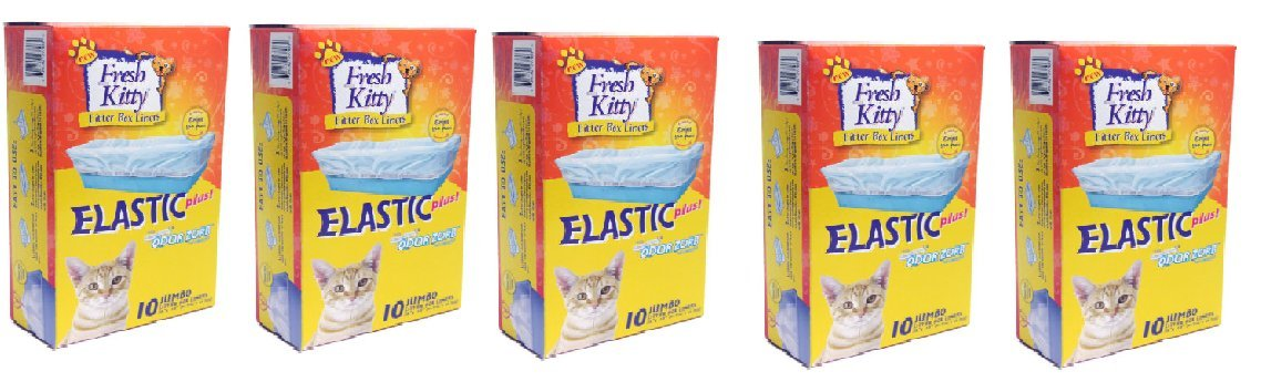 FRESH KITTY (50 Count) by FRESH KITTY JUMBO ELASTIC LITTER BOX LINERS - 10 CT.
