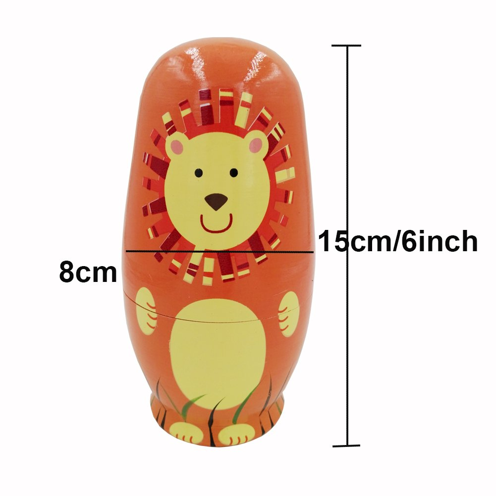 Echodo 5pcs Handmade Animal Nesting Dolls Authentic Russian Wooden Matryoshka Dolls Cute Cartoon Animals Pattern Nesting Doll Toy Gift by Echodo (Image #2)