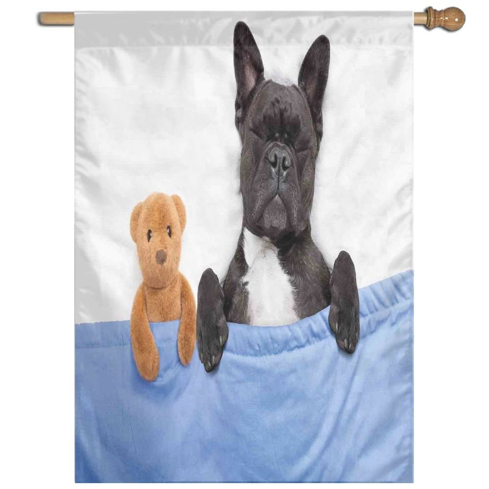 HUANGLING French Bulldog Sleeping With Teddy Bear In Cozy Bed Best Friends Fun Dreams Image Home Flag Garden Flag Demonstrations Flag Family Party Flag Match Flag 27''x37''