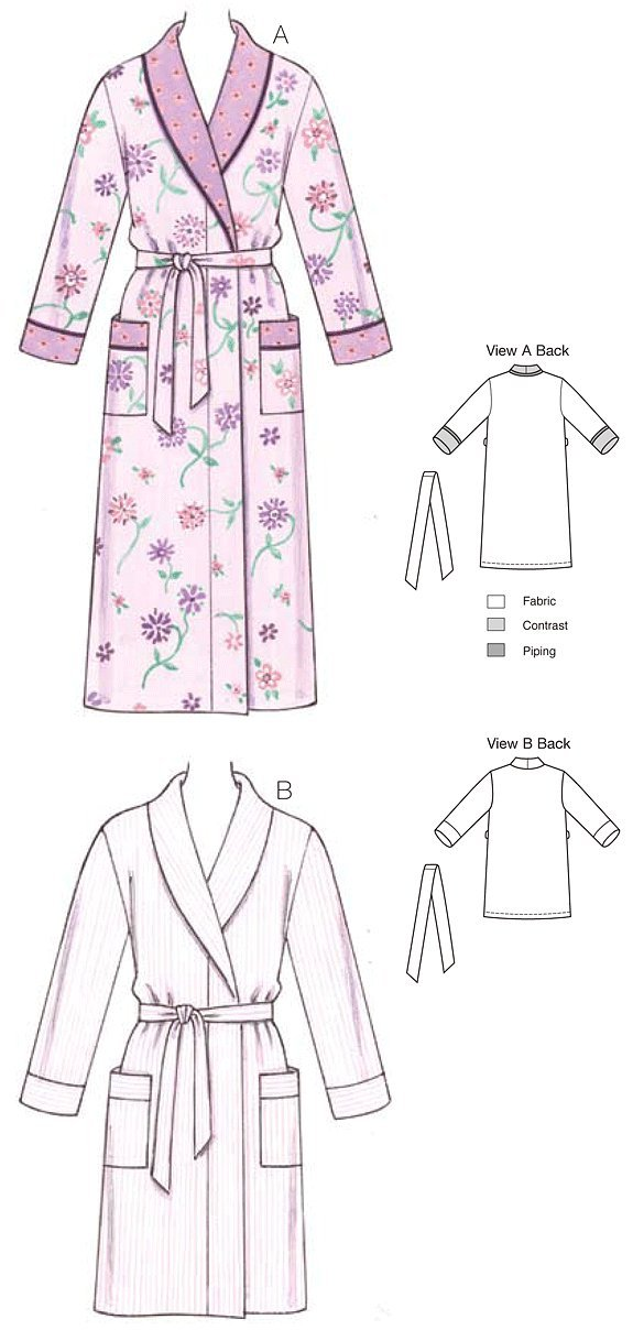 KWIK - SEW PATTERNS K3644 Size Extra-Small - Small - Medium - Large -  Extra-Large Robes 04ed36388