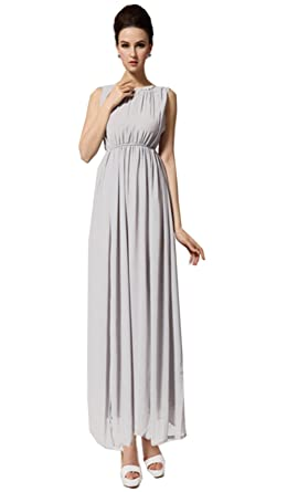 Zehui Womens Chiffon Ball Gown Evening Party Open Side Split Halter Long Dress Gray US6