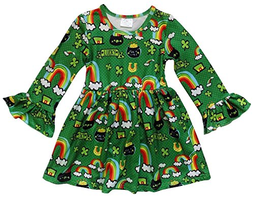 Fall Pot - So Sydney Little Girls Long Sleeve Fall Flare Stretch Cotton Holiday Princess Dress (XL (6), Pot Of Gold)