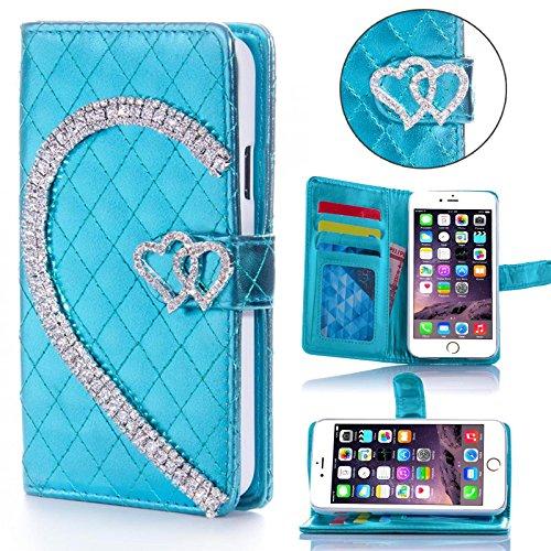 Book Style Design Handy Tasche Karo Metallic mit Visitenkartenfunktion Flip Cover Schutz Hülle Schale Klapp Etui Case Modern Bag für Apple Iphone 6 / 6s Plus in Türkis