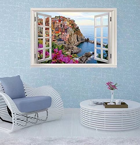 FBAhome Wall Sticker- Village of Manarola, on the Cinque Window Frame Style Wall Sticker Home Decor (24
