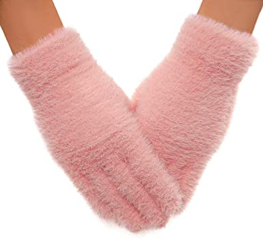 Playing Gift QUXIANG Winter Gloves for Women and Girls Light Slim Soft Warm Knitted Gloves for Winter Outdoor Sports