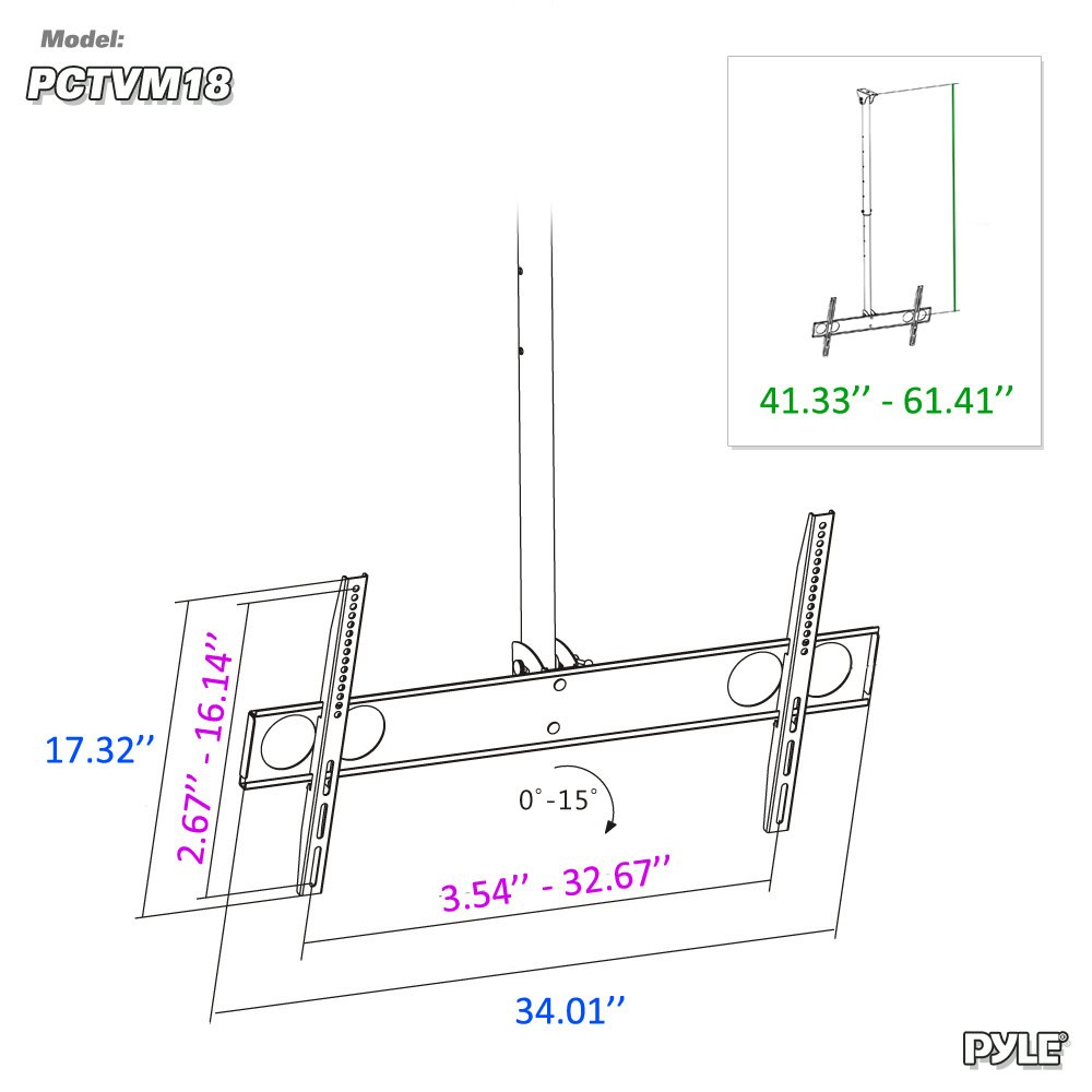 Adjustable Height Tv Ceiling Mount Tilting Vertical Schema Pinterest Circuit Diagram On 3 Led Chaser Vesa Universal Monitor Mounting Bracket W Telescoping Arm Mounts 37 To 70 Inch Hdtv