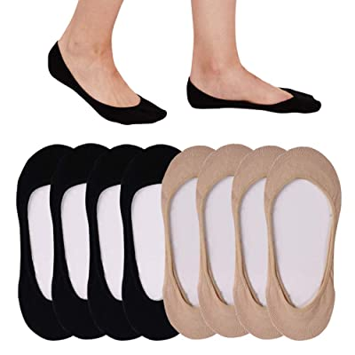 4 to 8 Pack Ultra Low Cut No Show Socks Women Invisible for Flats and Dress Shoes Liner Socks with Non-Slip Heel Grips at Women's Clothing store