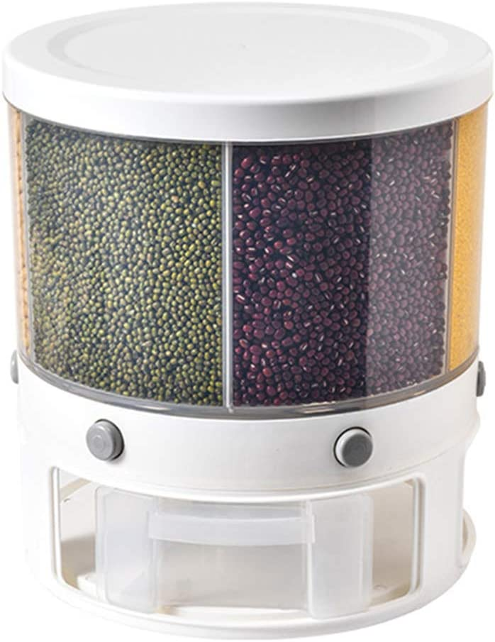 Large Food Dispenser Rice Dispenser 6-Grid Rice Bucket Whole Grains Rice Container Storage with Lid Dry Food Dispenser Storage Box for Kitchen