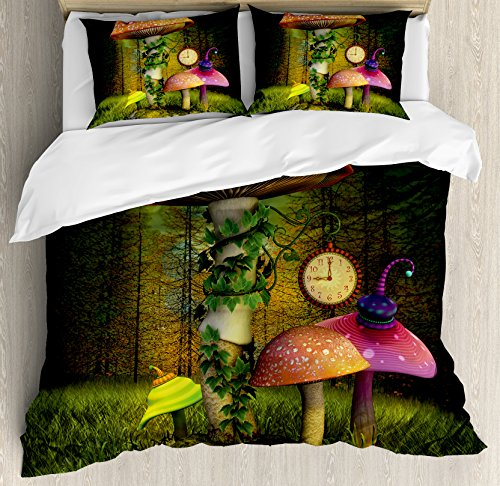 Ambesonne Fantasy Duvet Cover Set King Size, Fiction Forest with Giant Mushrooms and Elves In Magical Fairytale Enchanted Theme Image, A Decorative 3 Piece Bedding Set with 2 Pillow Shams, Green Coral