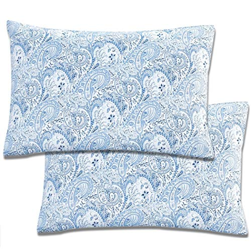 Mellanni Luxury Pillowcase Set Brushed Microfiber 1800 Bedding - Wrinkle, Fade, Stain Resistant - Hypoallergenic (Set of 2 Standard Size, Paisley - Blue Paisley Pillow