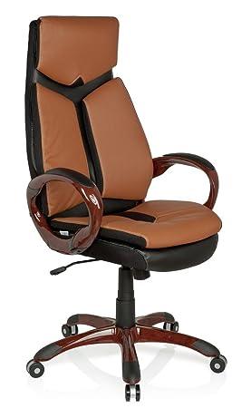 hjh OFFICE 621790 silla de oficina ERGO 100 piel sintética marrón / negro, muy cómodo, buen acholchado, con apoyabrazos, inclinable, respaldo alto, ...