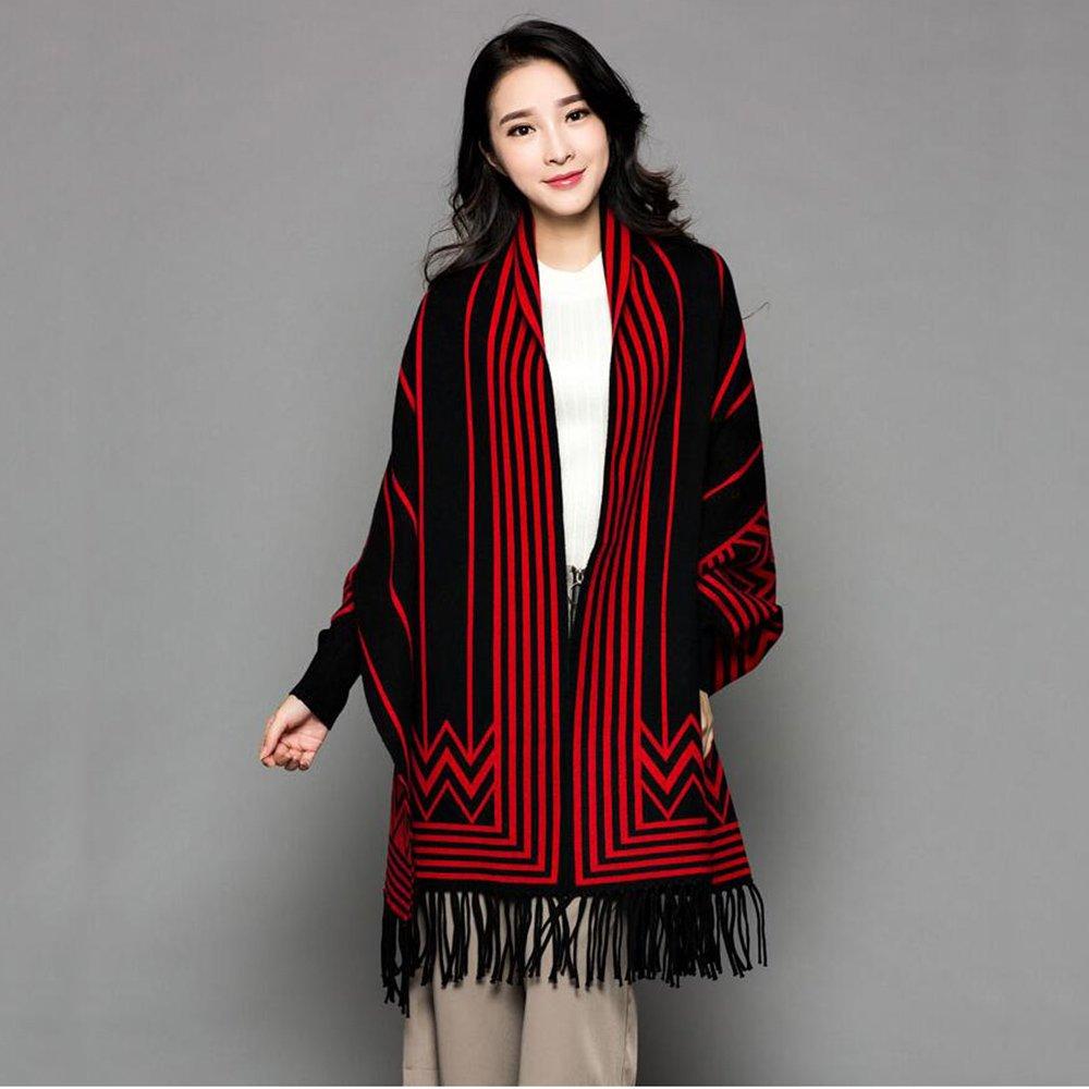 HAIZHEN alla moda alla moda Donne Spessa Mantello Ladies Autunno Inverno Con Maniche Scialle Sciarpa Doppio Uso Stripes Cappotto Con 4 Colori Morbido e caldo ( Colore : Black red stripes )